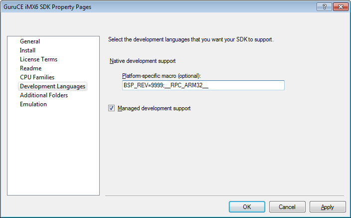 CE7 SDK options dialog
